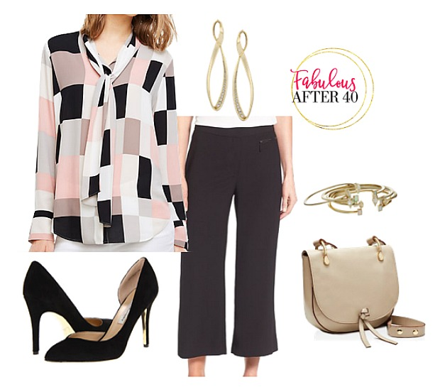 black-culottes-pants-pink-light-top-blouse-earrings-tan-bag-black-shoe-pumps-print-tieneck-fall-winter-work.jpg