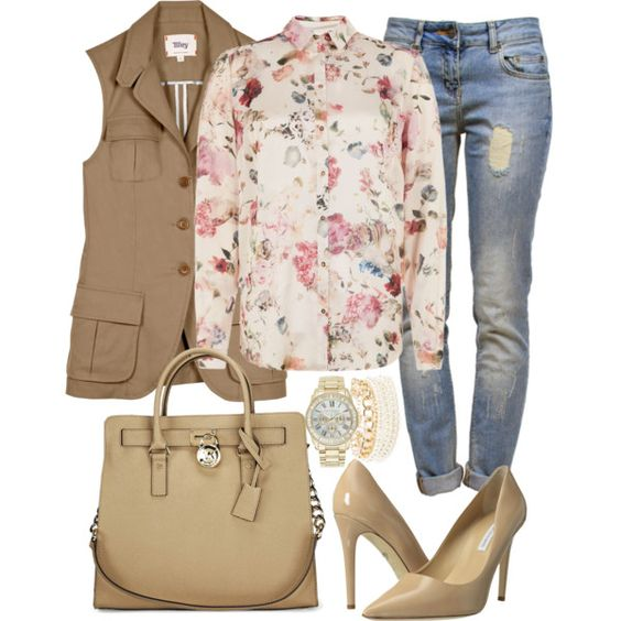 blue-light-skinny-jeans-pink-light-top-blouse-floral-print-tan-bag-tan-shoe-pumps-tan-vest-utility-watch-fall-winter-lunch.jpg