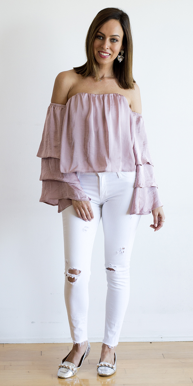 white-skinny-jeans-pink-light-top-offshoulder-hairr-lob-earrings-gray-shoe-flats-spring-summer-lunch.jpg