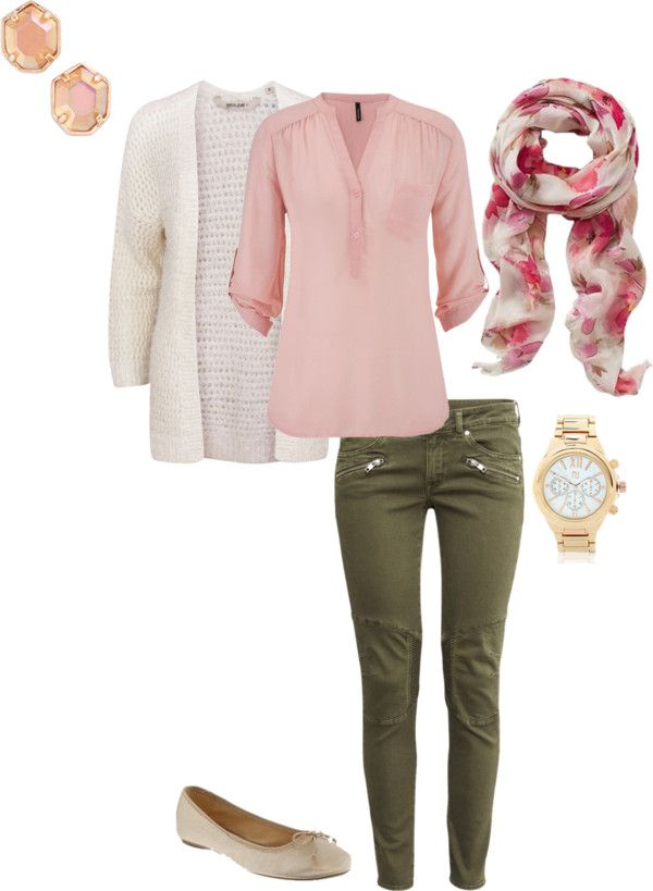green-olive-skinny-jeans-r-pink-light-top-blouse-pink-magenta-scarf-floral-print-white-cardiganl-studs-watch-tan-shoe-flats-howtowear-fashion-style-outfit-spring-summer-lunch.jpg