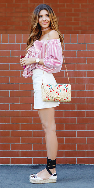 how-to-style-white-mini-skirt-tan-bag-pink-magenta-top-stripe-offshoulder-hairr-choker-necklace-white-shoe-flats-spring-summer-fashion-lunch.jpg