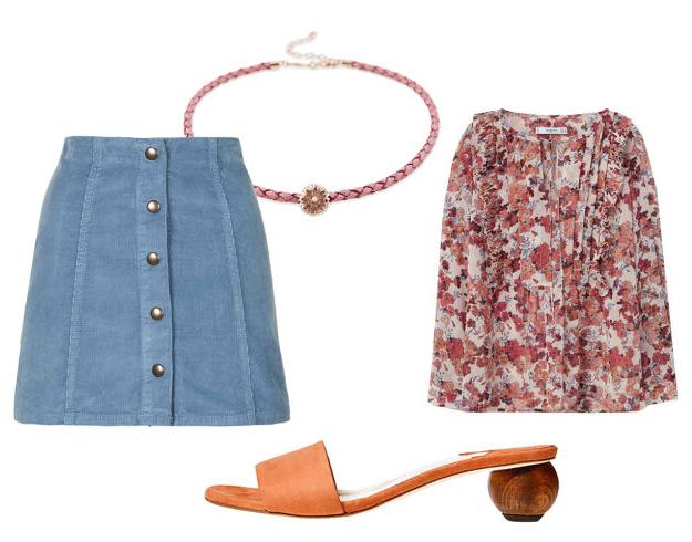blue-light-mini-skirt-r-pink-magenta-top-blouse-print-floral-cognac-shoe-sandals-slides-choker-denim-howtowear-fashion-style-outfit-spring-summer-lunch.jpg