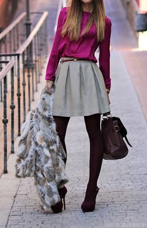 grayl-mini-skirt-pink-magenta-top-blouse-grayl-jacket-coat-fur-fuzz-howtowear-fashion-style-outfit-fall-winter-pleat-belt-burgundy-tights-burgundy-shoe-sandalh-burgundy-bag-hairr-work.jpg