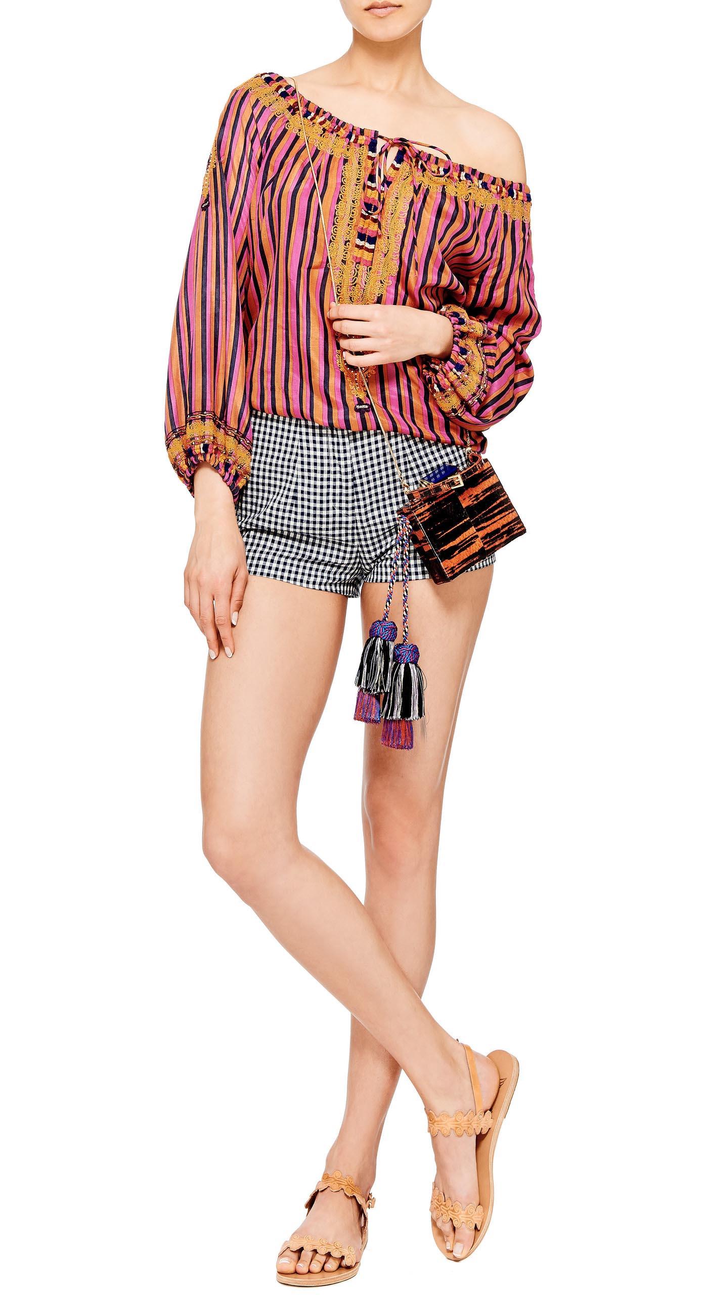 white-shorts-gingham-print-pink-magenta-top-blouse-peasant-tan-shoe-sandals-spring-summer-weekend.jpg