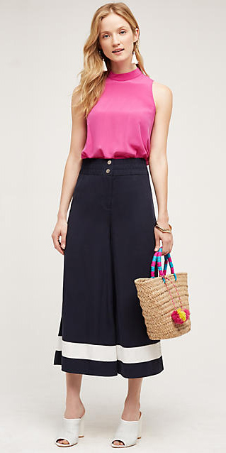 black-culottes-pants-r-pink-magenta-top-earrings-tan-bag-straw-white-shoe-mules-blonde-spring-summer-style-fashion-wear-anthropologie-lunch.jpg