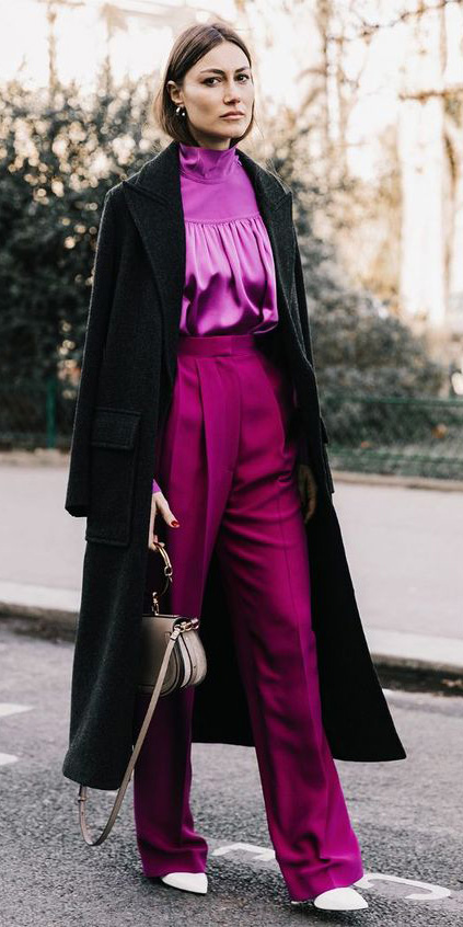 pink-magenta-wideleg-pants-black-jacket-coat-hairr-tan-bag-pink-magenta-top-blouse-fall-winter-lunch.jpg
