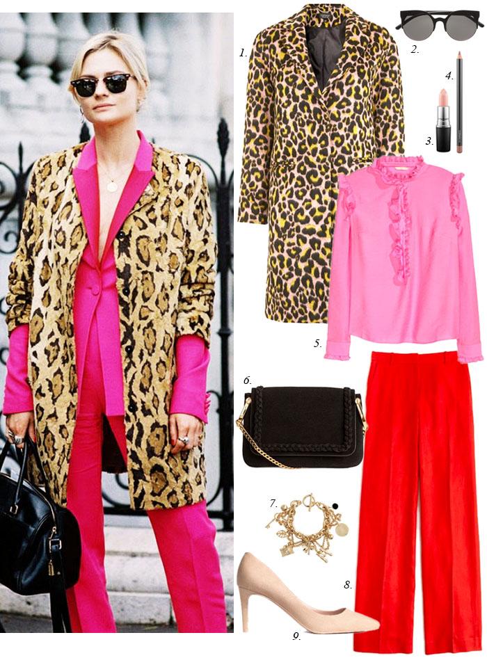 red-wideleg-pants-pink-magenta-top-blouse-sun-leopard-print-white-shoe-pumps-black-bag-tan-jacket-coat-fall-winter-blonde-lunch.jpg