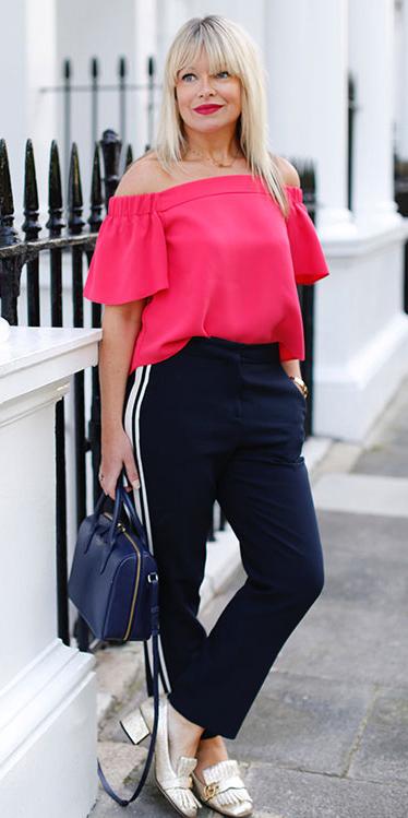 blue-navy-slim-pants-tan-shoe-loafers-gold-blue-bag-pink-magenta-top-offshoulder-spring-summer-blonde-lunch.jpg