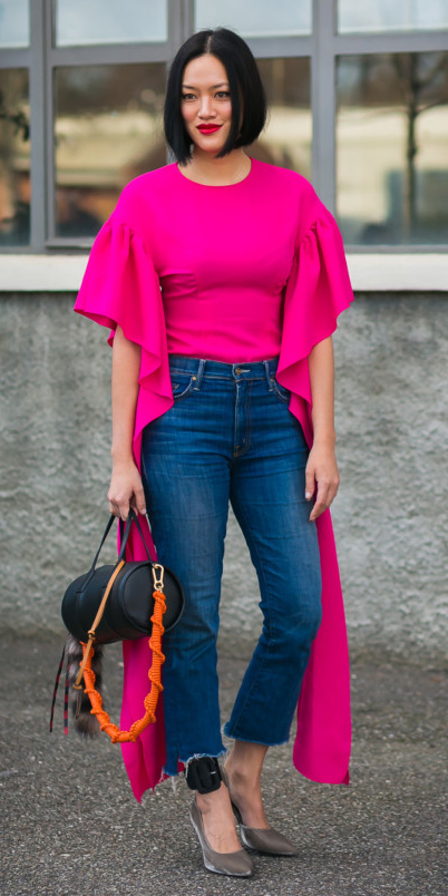 blue-navy-crop-jeans-gray-shoe-pumps-brun-bob-pink-magenta-top-sleeves-black-bag-fall-winter-lunch.jpg