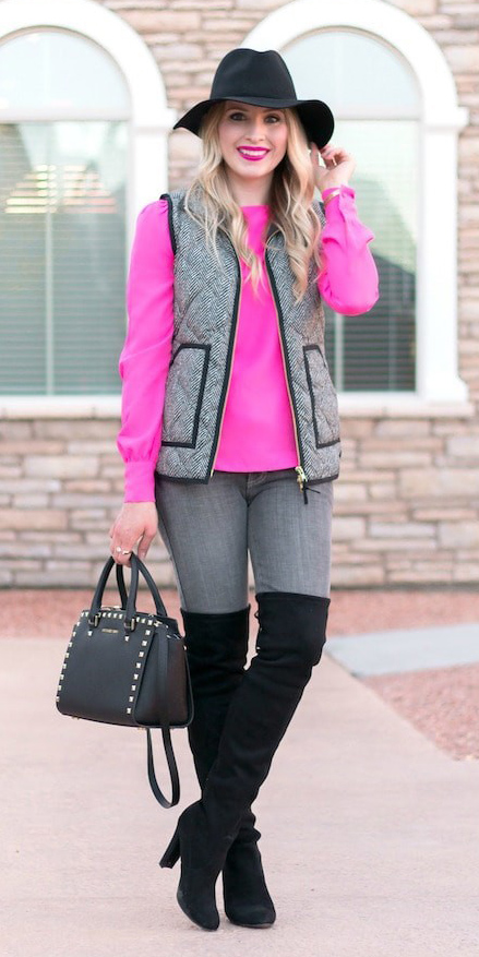 grayl-skinny-jeans-pink-magenta-top-blouse-black-bag-hat-grayl-vest-puffer-black-shoe-boots-otk-herringbone-fall-winter-blonde-lunch.jpg