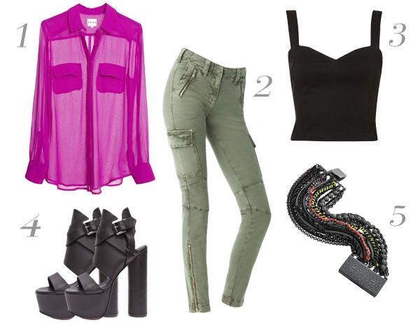 green-olive-skinny-jeans-black-top-bustier-r-pink-magenta-top-blouse-wear-outfit-fashion-fall-winter-chunkyheels-black-shoe-sandalh-bracelet-dinner.jpg