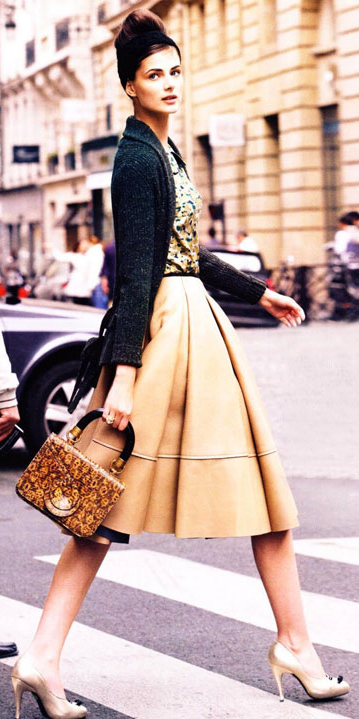 o-tan-midi-skirt-tan-top-print-tan-bag-hand-bun-wear-outfit-spring-summer-tan-shoe-pumps-grayd-cardigan-weartowork-hairr-work.jpeg