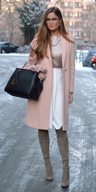 how-to-style-white-pencil-skirt-tan-top-blouse-gray-shoe-boots-peach-jacket-coat-hairr-black-bag-tote-fall-winter-fashion-pastel-work.jpg