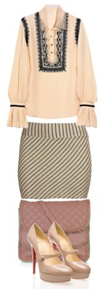 o-tan-mini-skirt-tan-top-blouse-peasant-tan-shoe-pumps-pink-bag-howtowear-fashion-style-outfit-spring-summer-work.jpg