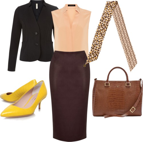 o-brown-pencil-skirt-o-tan-top-blouse-tan-scarf-neck-leopard-cognac-bag-yellow-shoe-pumps-howtowear-style-fashion-fall-winter-black-jacket-blazer-work.jpg