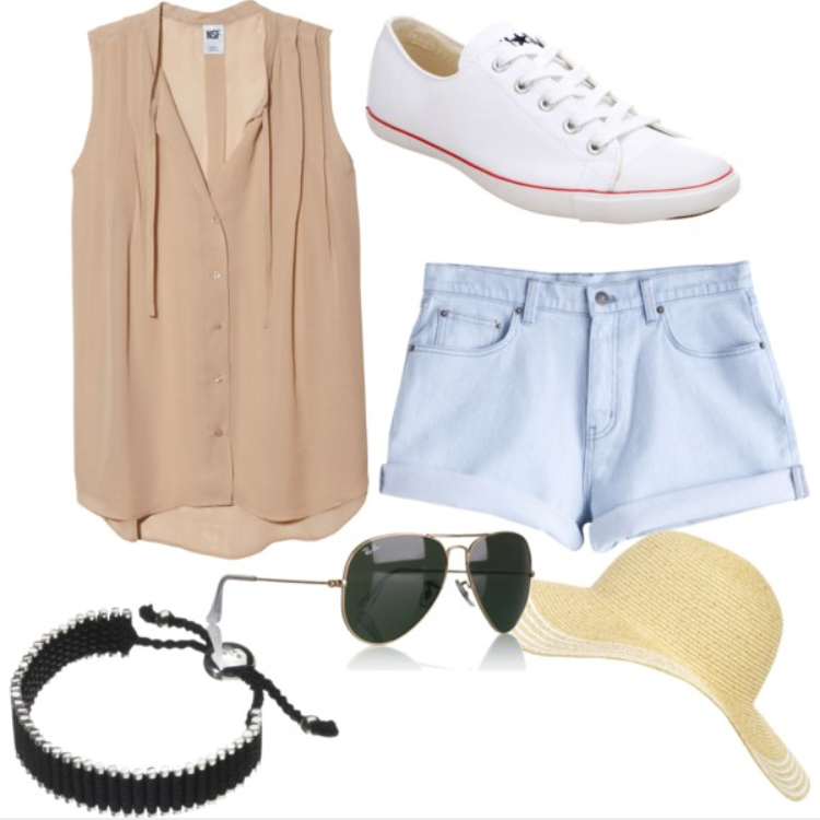 blue-light-shorts-o-tan-top-blouse-howtowear-fashion-style-outfit-spring-summer-white-shoe-sneakers-sun-bracelet-hat-straw-denim-weekend.jpg