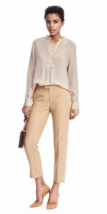 o-tan-slim-pants-tan-top-blouse-bun-howtowear-tan-shoe-pumps-spring-summer-brun-work.jpg
