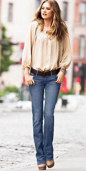 blue-med-flare-jeans-tan-top-blouse-belt-brown-shoe-booties-fall-winter-hairr-lunch.jpg