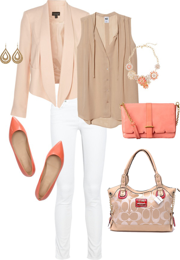 white-skinny-jeans-o-tan-top-blouse-peach-jacket-blazer-orange-shoe-pumps-orange-bag-bib-necklace-earrings-howtowear-fashion-style-outfit-spring-summer-work.jpg