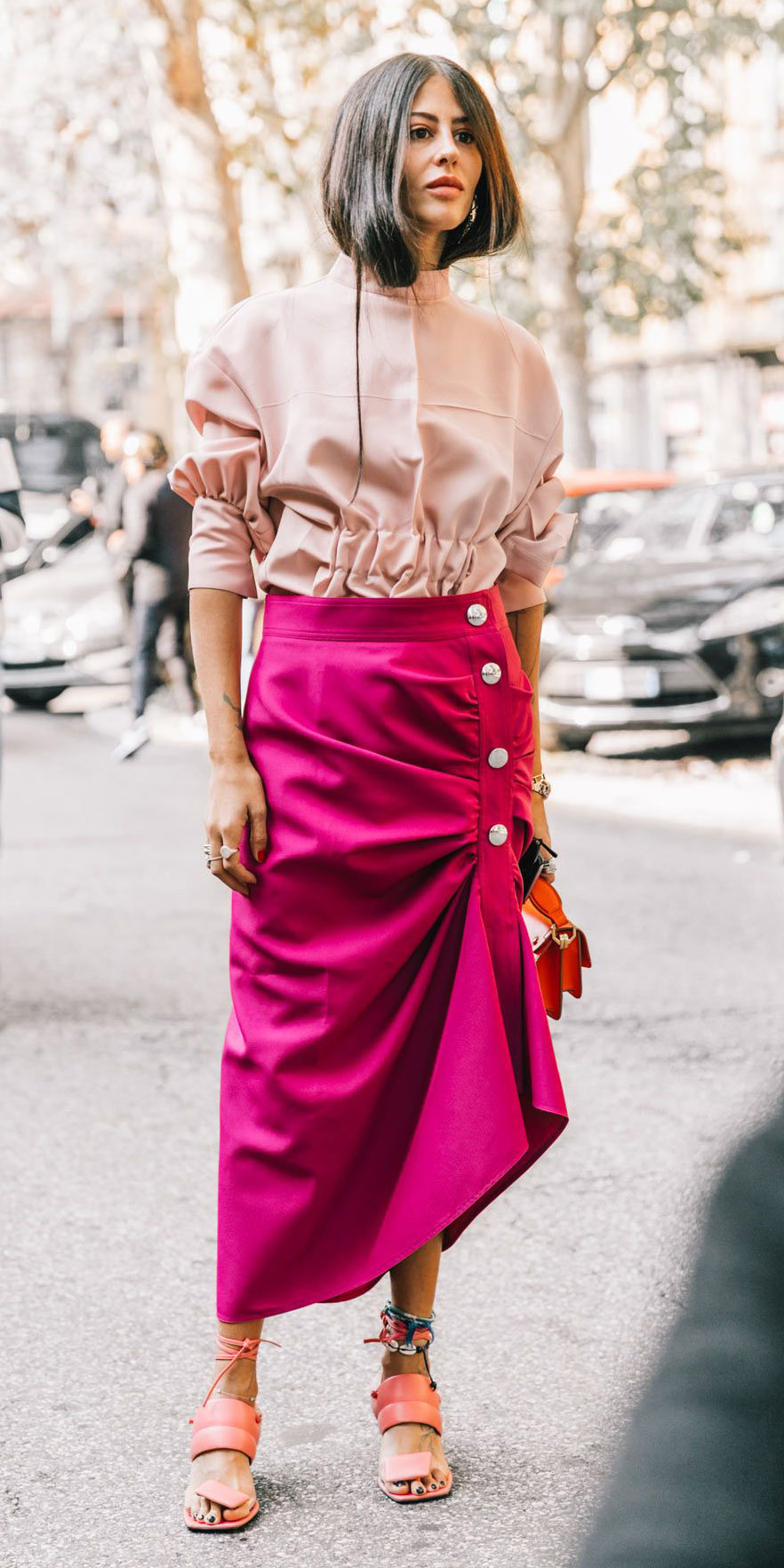 pink-magenta-midi-skirt-peach-top-blouse-hairr-red-bag-peach-shoe-sandalh-tonal-spring-summer-dinner.jpg