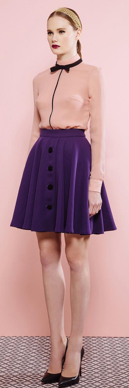 purple-royal-mini-skirt-peach-top-blouse-head-pony-black-shoe-pumps-fall-winter-hairr-lunch.jpg