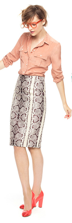 white-pencil-skirt-o-peach-top-blouse-snakeskin-orange-shoe-pumps-howtowear-fashion-style-outfit-spring-summer-hairr-work.jpg