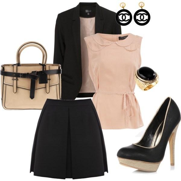 black-mini-skirt-peach-top-blouse-black-jacket-blazer-fall-winter-tan-bag-pleat-black-shoe-pumps-black-earrings-ring-office-work.jpeg