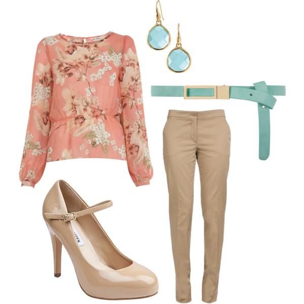 o-tan-slim-pants-o-peach-top-blouse-print-belt-earrings-turquoise-tan-shoe-pumps-howtowear-fashion-style-outfit-spring-summer-work.jpg