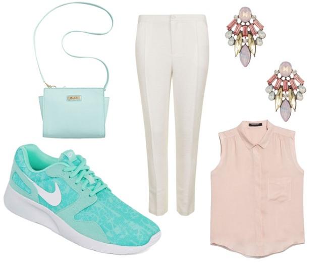 white-slim-pants-o-peach-top-blouse-green-shoe-sneakers-green-bag-jewel-earrings-spring-summer-lunch.jpg
