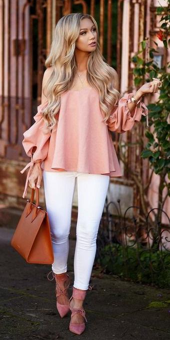 white-skinny-jeans-pink-shoe-pumps-cognac-bag-blonde-peach-top-offshoulder-spring-summer-lunch.jpg