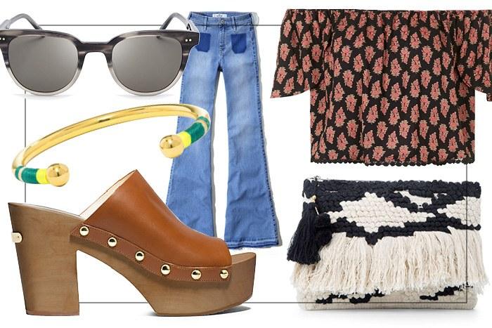 blue-med-flare-jeans-cognac-shoe-sandalh-clogs-mules-bracelet-sun-print-peach-top-offshoulder-spring-summer-weekend.jpg