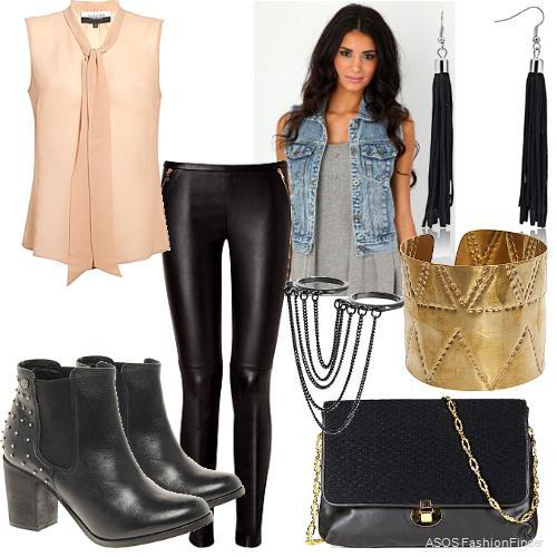 black-leggings-o-peach-top-blouse-blue-light-vest-jean-black-bag-bracelet-earrings-black-shoe-booties-bow-leather-howtowear-fashion-style-outfit-brun-spring-summer-dinner.jpg