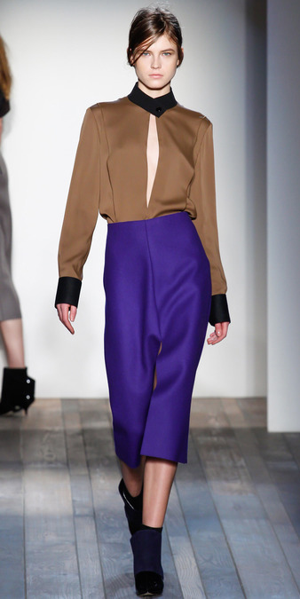 purple-royal-midi-skirt-o-camel-top-blouse-black-shoe-booties-bun-runway-victoriabeckham-howtowear-fashion-style-outfit-hairr-fall-winter-work.jpg