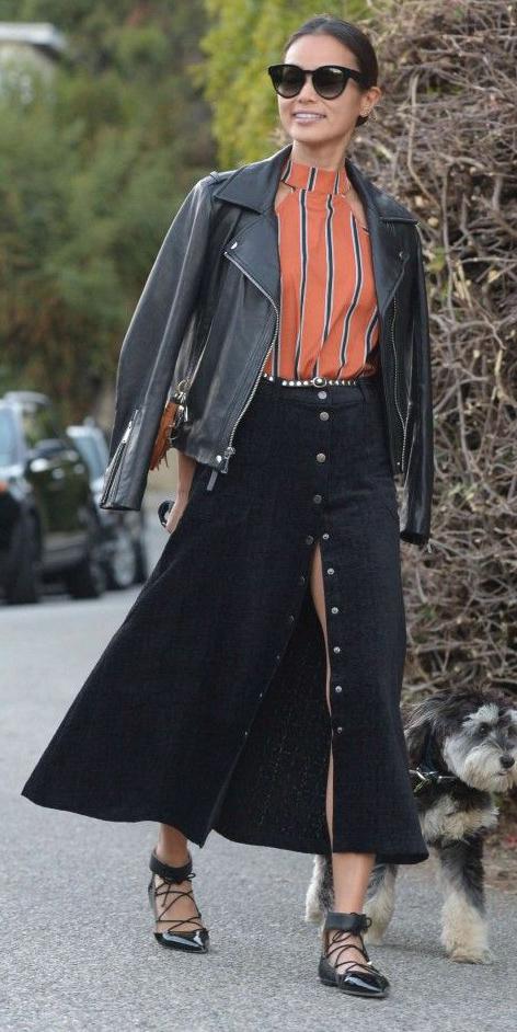 black-midi-skirt-button-orange-top-black-jacket-moto-brun-bun-sun-black-shoe-flats-jaimechung-dog-walking-fall-winter-lunch.jpg