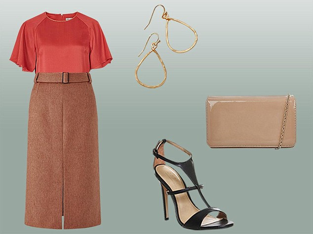 camel-pencil-skirt-orange-top-blouse-tweed-black-shoe-sandalh-earrings-tan-bag-fall-winter-dinner.jpg
