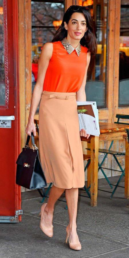 tan-pencil-skirt-amalclooney-orange-top-black-bag-tan-shoe-pumps-spring-summer-brun-work.jpg