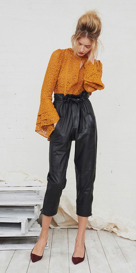 black-joggers-pants-orange-top-blouse-bun-blonde-burgundy-shoe-pumps-fall-winter-lunch.jpg