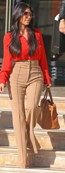 tan-wideleg-pants-orange-top-blouse-cognac-bag-tote-sun-kimkardashian-brun-fall-winter-work.jpg