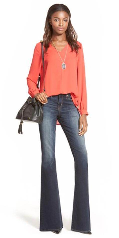 blue-navy-flare-jeans-orange-top-blouse-necklace-pend-black-shoe-pumps-black-bag-brun-wear-fashion-style-fall-winter-lunch.jpg