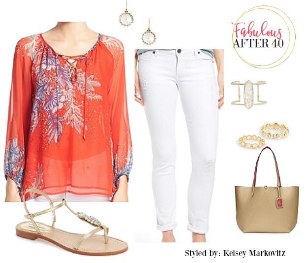 white-skinny-jeans-orange-top-blouse-peasant-print-earrings-jewel-tan-shoe-sandals-tan-bag-spring-summer-weekend.jpg