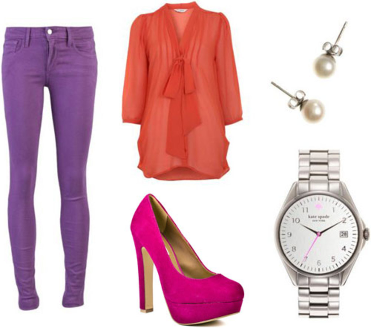 purple-royal-skinny-jeans-orange-top-blouse-bow-watch-magenta-shoe-pumps-studs-pearl-howtowear-fashion-style-outfit-spring-summer-lunch.jpg