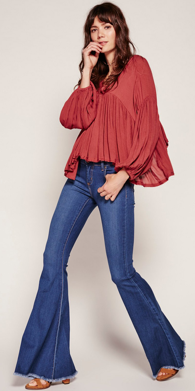 blue-navy-flare-jeans-orange-top-blouse-peasant-flowy-cognac-shoe-sandalh-spring-summer-hairr-weekend.jpg
