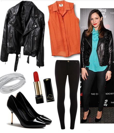 black-skinny-jeans-orange-top-blouse-bracelet-howtowear-fashion-style-outfit-fall-winter-katherinemcphee-black-jacket-moto-black-shoe-pumps-night-celebrity-hairr-dinner.jpg