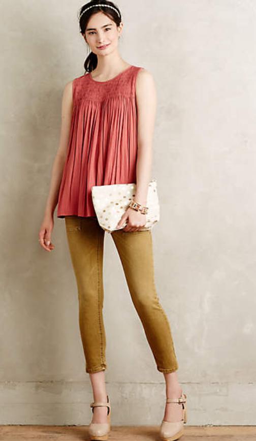 tan-leggings-tan-skinny-jeans-orange-top-tan-shoe-pumps-head-pony-white-bag-clutch-swing-howtowear-style-fashion-spring-summer-anthropologie-brun-lunch.jpg