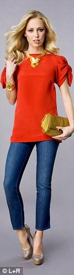 blue-navy-skinny-jeans-orange-top-blouse-necklace-tan-shoe-pumps-yellow-bag-clutch-bracelet-wear-fashion-style-spring-summer-blonde-dinner.jpg