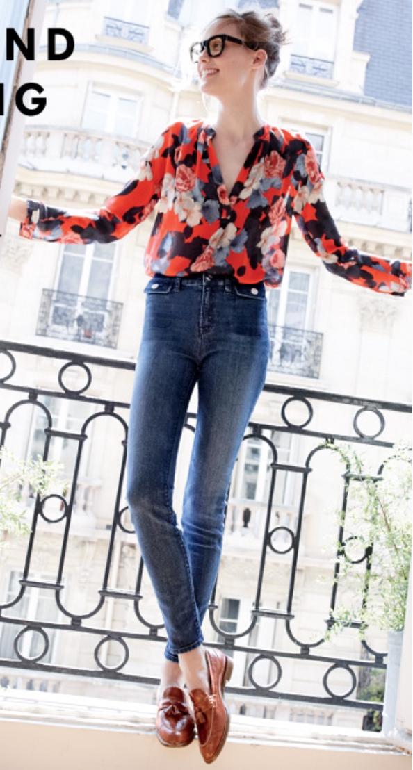 blue-navy-skinny-jeans-orange-top-blouse-bun-howtowear-style-fashion-spring-summer-floral-jcrew-cognac-shoe-loafers-hairr-lunch.jpg
