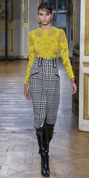 black-midi-skirt-plaid-yellow-top-blouse-earrings-black-shoe-boots-hairr-fall-winter-dinner.jpg
