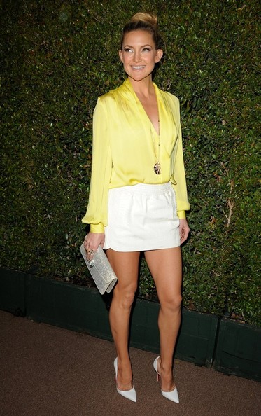 white-mini-skirt-yellow-top-blouse-necklace-pend-bun-katehudson-white-shoe-pumps-spring-summer-blonde-dinner.jpg