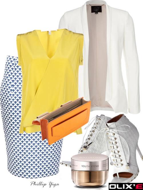 blue-med-pencil-skirt-print-yellow-top-blouse-white-jacket-blazer-white-shoe-sandalh-orange-bag-howtowear-fashion-style-outfit-spring-summer-work.jpg