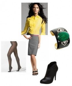 grayl-pencil-skirt-yellow-top-blouse-howtowear-fashion-style-outfit-fall-winter-black-tights-black-shoe-booties-bangle-bracelet-brun-work.jpg